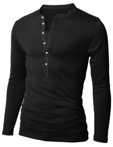 Doublju Mens Long Sleeve Slim Fit Henley Shirts