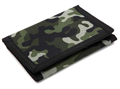 RFID Trifold Canvas Camouflage Wallet for Men,Mini Coin Purse with Zipper and Front Pocket for Kids(Green)