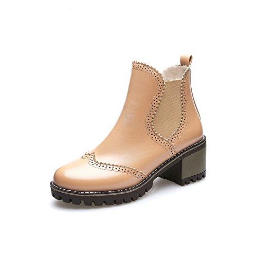 nice BalaMasa Womens Retro Pointed-Toe Slip-Resistant Urethane Boots ABL09917