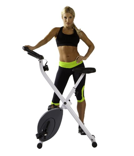Marcy Foldable Exercise Bike - White - Counterweighted Pedals with Adjustable Foot Straps