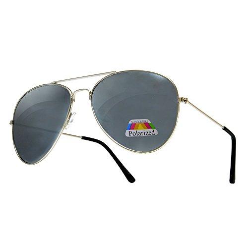 Completo Lente Hombre cristal 4sold con UV400 y de Retro Para Polarized espejo efecto Para Aviatro Diseño Sol de Moda Silver Gafas Mujer 57xdqSwad
