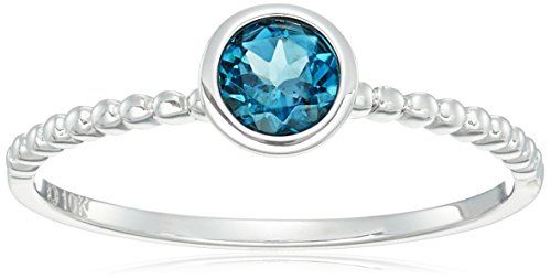10k White Gold London Blue Topaz Solitaire Beaded Shank Stackable Ring, Size 7