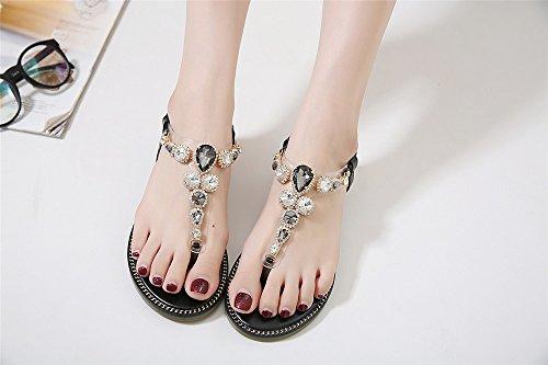 LIVY sandalias planas del verano 2017 nuevas sandalias de lujo de diamantes clip de las sandalias de suela blanda salvajes Negro