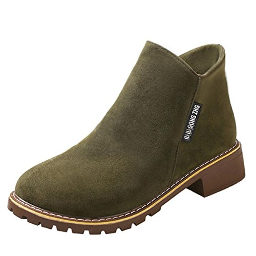 ESAILQ Boots Women Ankle Martin Boots Low Heels Round Toe Winter Shoes Army Green QpgkfCNjI