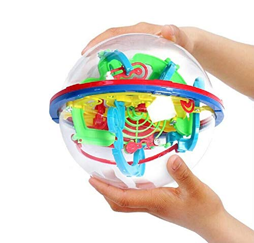 Intellect 3D Maze Ball with 100 Challenging Barriers 3D Labyrinth Ball for Kids 3D Puzzle Toy Magical Maze Ball Brain Teasers Puzzle Ga Best Gift Independent Play for Children 7-15 Years ()