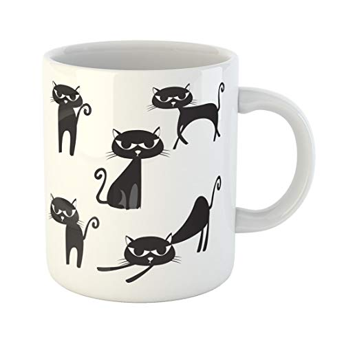 Semtomn Funny Coffee Mug Halloween Black Cat Silhouette Abstract Animals Beautiful Cartoon Child 11 Oz Ceramic Coffee Mugs Tea Cup Best Gift Or Souvenir -