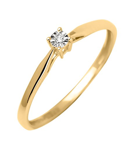 Bague Solitaire - Or jaune 9 cts - Diamant 0.05 cts - 191558.40