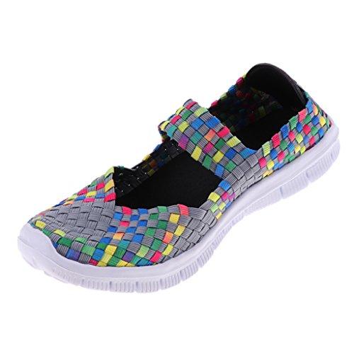 Komfort Grau Trainer MagiDeal Sommerschuhe Damen Sportschuhe gewebte Schuhe Schnellverschluss Halbschuhe leichte Schuhe Elastische wq817
