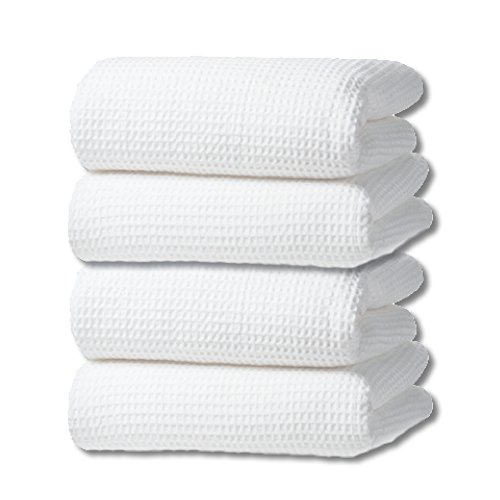 Classic Waffle Weave Bath Towel Set of 4 (White) by Gilden Tree