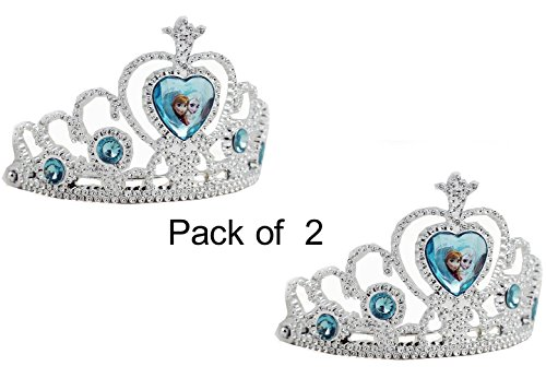 Disney Frozen Tiara Crown - Silver with Blue Elsa Anna Heart