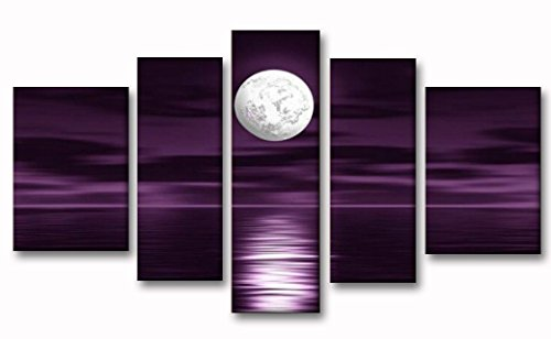5 Panels 100% Hand Painted Wood Framed Abstract Landscape Wall Art Purple Skyline Sea White Full Moon Night Oil Painting on Canvas by Crystal Emotion