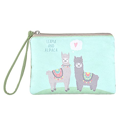 Rantanto Cute Canvas Cash Coin Purse, Make Up Bag, Cellphone Bag With Handle (BG0023 Llama And Alpaca)