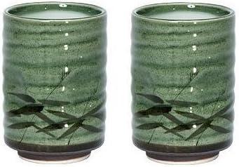 MIYA Japanese Tea Cup Green Sasa Set
