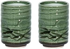 8 oz. Japanese Tea Cup Green Sasa Set of 2 by MIYA
