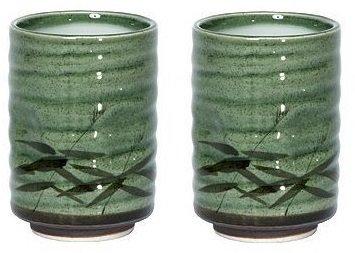 8 oz. Japanese Tea Cup Green Sasa Set of 2 by MIYA