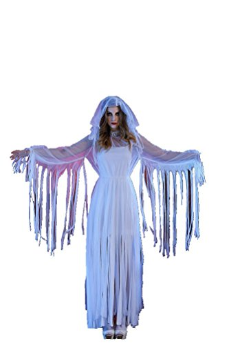 [SEVEN STYLE Halloween Horror Bloody Ghost Bride Bloody Adult Costume Female Mummy Zombie Costume] (Ghost Mummy Costume)