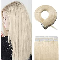40 pcs Tape in Hair Extensions Silky Long Straight Human Hair with Invisible Double Sided Tape Glue in Seamless Skin Weft 10 Free Tapes 22 inches #60 Platinum Blonde 100g