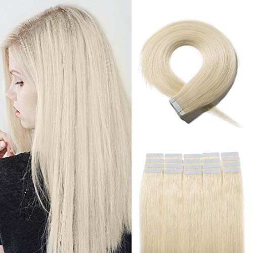 40 Pieces Rooted Tape in Hair Extensions Human Hair Seamless Skin Weft 100% Real Remy Invisible Tape Hair Extensions Straight Double Sided 24 inches #60 Platinum Blonde 100g (Hair Dark Real Extensions Blonde)