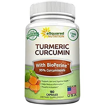 top best Pure Turmeric Curcumin 1300mg with BioPerine Black Pepper Extract - 180 Capsules - 95% Curcuminoids