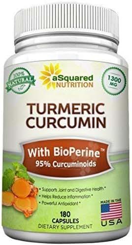 Pure Turmeric Curcumin 1300mg with BioPerine Black Pepper Extract - 180 Capsules - 95% Curcuminoids, 100% Natural Tumeric Root Powder Supplements, Natural Anti-Inflammatory Joint Pain Pills