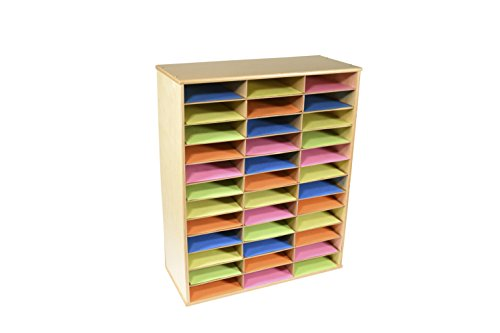 Classroom Select Storage Organizer, 36 Shelves, 29 x 12 x 35-1/2 Inches, Natural Wood Exterior