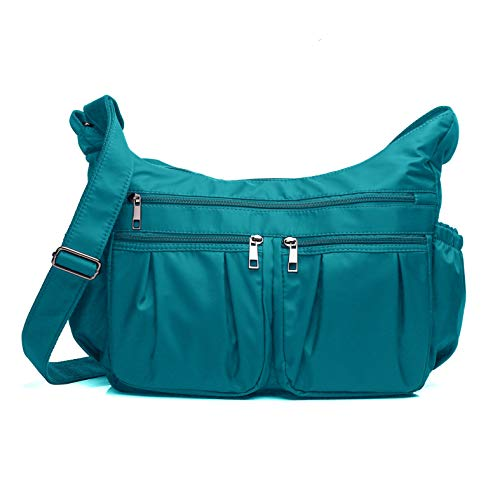 Crossbody Bags for Women, Multi Pocket Shoulder Bag Waterproof Nylon Travel Purses and Handbags (8981-Lake Blue-Large)