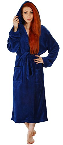 Simplicity Fleece Hooded Bathrobe Sleepwear