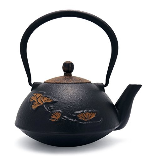 - TransSino Treasures 38 Ounce Graceful Cast Iron Teapot Khaki Ginkgo Leaf in Black