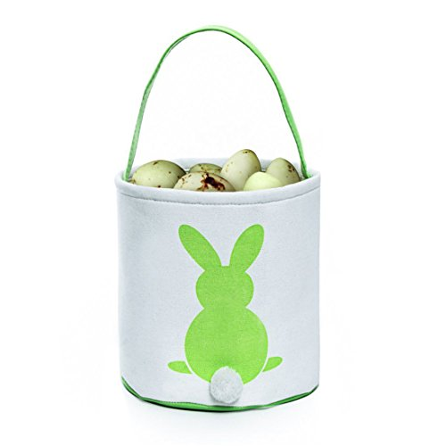 GWELL 4 PCS, Easter Bunny Basket, Foldable Gift Basket Bucket for Kids, DIY Gifts, Egg Hunt, Candies, Goodies, Canvas Bag with Bunny Tail Pompom by GWELL (Image #2)