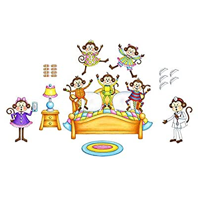 Five Little Monkeys Jumping On The Bed Felt Flannel Board Story 26 Pieces Precut: Toys & Games