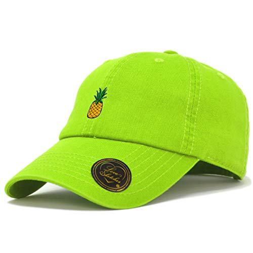 - Love Sketches Pineapple Embroidered Classic Polo Style Baseball Cap Low Profile Dad Cap Hat (Lime)
