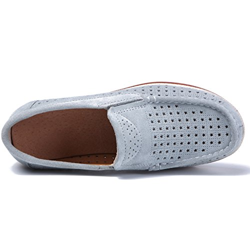 Hattie Women's Breathable Slip On Wedge Loafers Comfort Suede Moccasin Wide Work Shoes Blue Grey zi921LaF