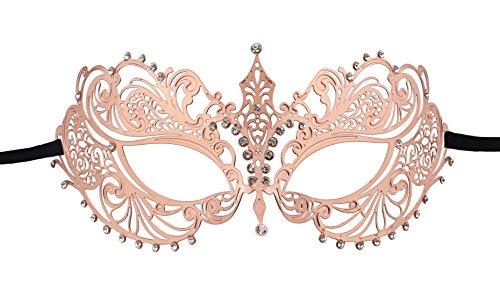 KEFAN Masquerade Mask Halloween Party Mardi Gars Mask Laser Cut Filigree Shiny Metal Crown Mask (Rose Gold)