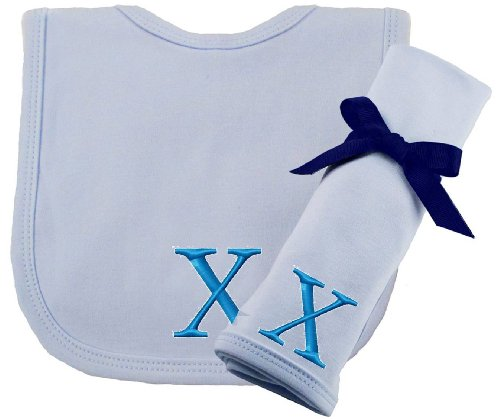 Princess Linens Embroidered Blue Initial Cotton Knit Bib and Burp Cloth Set, X (Initial Baby Bib)