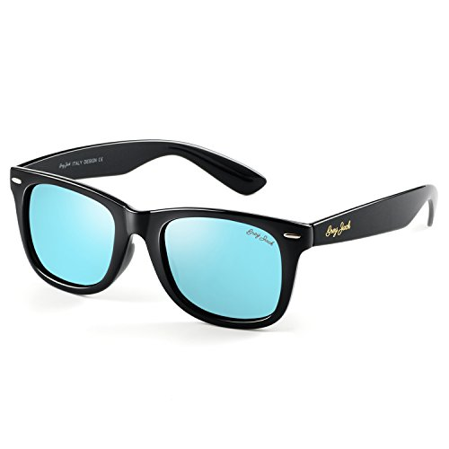 GREY JACK Polarized Retro Square Horn Rimmed Design Classic Sunglasses for Men Women Black Frame Ice Blue Lens - Grey Polarized Mirror