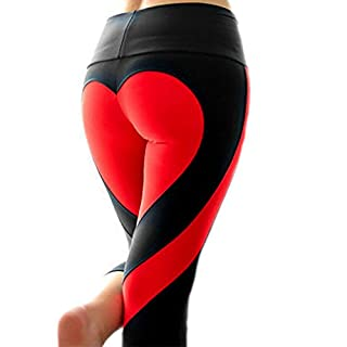 Latest Hot! Women's Fitness Leggings Workout Ankle-Length Yoga Pants Super Stretch Sportwear Black&Red,S UPS Post