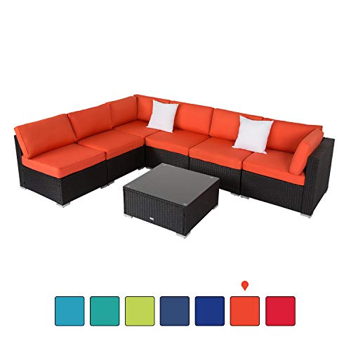 Resin Furniture Wicker - Peach Tree Outdoor Furniture Sectional Wicker Sofa Set 7 PCs Patio Resin Rattan, All-Weather Washable Waterproof Orange Cushions, w/Glass Coffee Table, Backyard, Pool