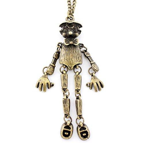 Vintage Feel Antique Gold Tone Cute Robot Scarecrow Pendant (Robot Makeup Costume)