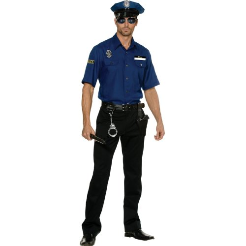 [Dreamgirl Men's You're Busted Cop Costume, Blue, XX-Large] (Police Costumes For Men)