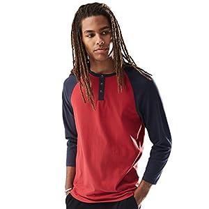 Rebel Canyon Young Men's Long Sleeve Cotton Baseball Henley Top Medium Red
