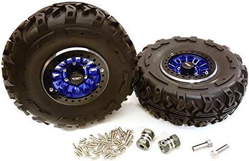 Integy RCモデルhop-ups c27039blue 2.2X 1.5-in。高質量合金ホイール、タイヤ& 14mm