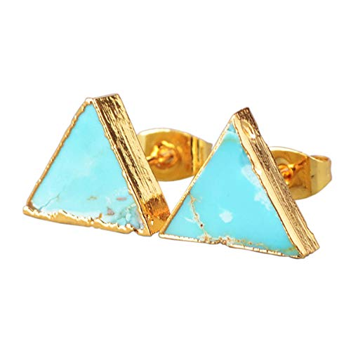 ZENGORI 1 Pair 10MM Gold Plated Triangle Natural Turquoise Stud Earrings for Women G0472