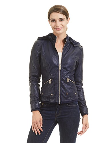 WJC1424 Womens Faux Leather Inner Fleece Hoodie Jacket S NAVY by Lock and Love