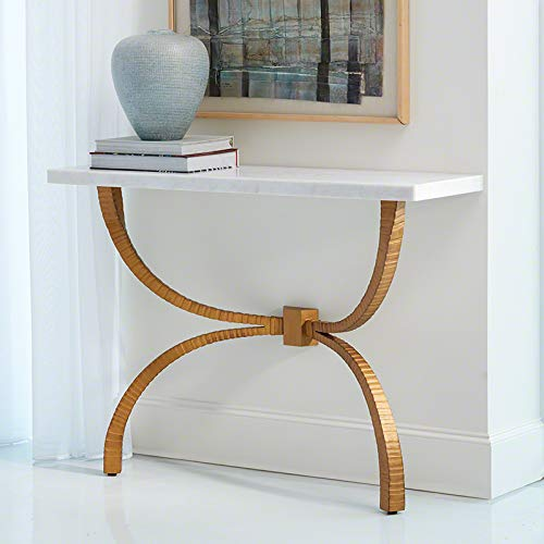 Global Views Minimalist Gold Iron White Marble Console Table | Rustic Ribbed Metal Stone Arch