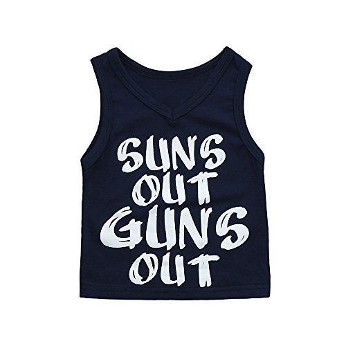 SMALLE Clearance Cute Newborn Kids Baby Boys Girls Letter Printed Outfits Clothes Vest Tops (12-18months, Dark Blue)