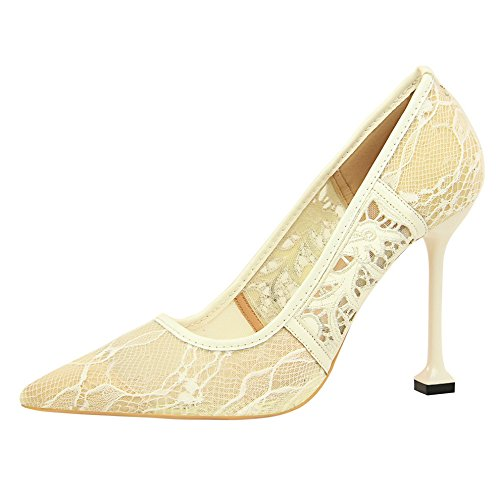 ZHANGYUSEN 2018 Mesh heel Tip Lace Retro Women'S Breathed Heel Bridesmaids And White Shoes High Summer Spring cat and And Shoes 4rpxqwBr