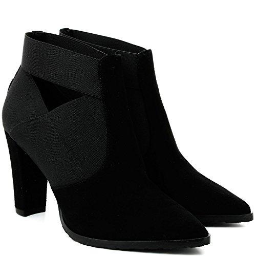 Tronchetti CafèNoir per donna in camoscio e tessuto nero (Taglia 35)