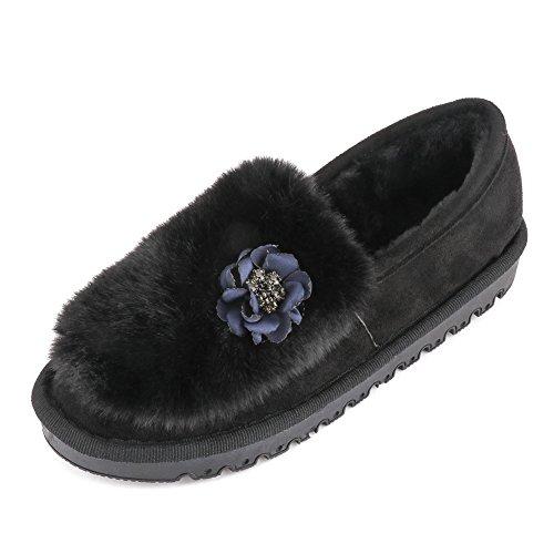 Meeshine Mujeres Faux Fur Comfort House Zapatillas De Invierno Al Aire Libre Mocasín Zapatos Mocasín Negro