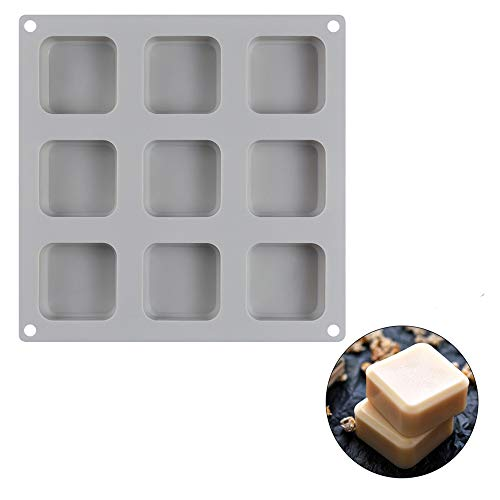 Silicone Mold for Soap, Bread, Loaf, Muffin, Brownie, Cornbread, Cheesecake, Pudding, and More Random Color (9 Cavity-Square)