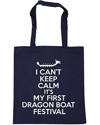 HippoWarehouse no puedo Mantener la calma es mi primera Dragon Boat Festival Tote Compras Bolsa de playa 42cm x38cm, 10litros azul marino